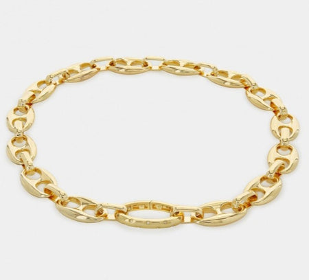 Gold Puffy Mariner Chain Link Necklace