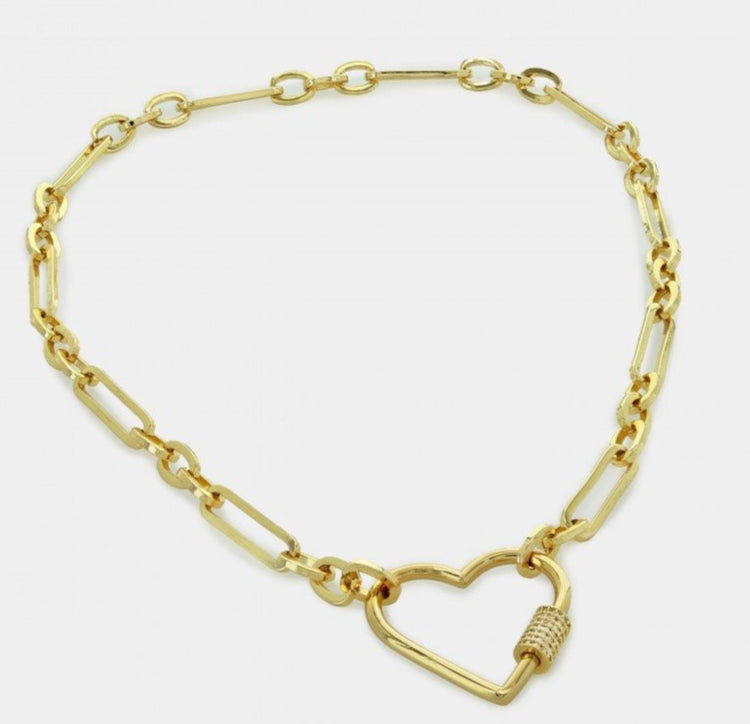 Link chain Necklace with Heart Connector