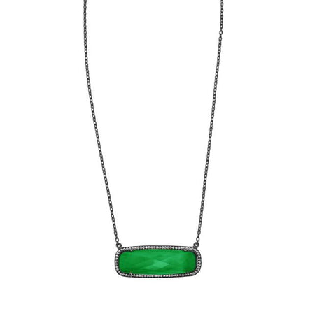 Green Onyx Rectangle Necklace