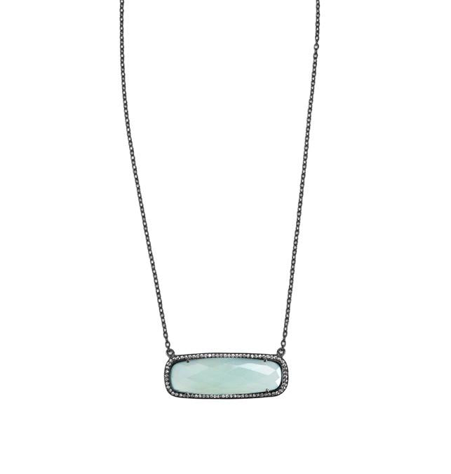 Opal Blue Rectangle Necklace