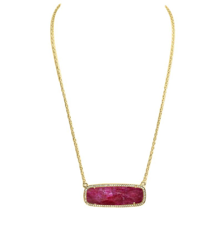 Ruby Jade Rectangle Necklace