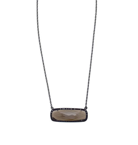 Smoky Quartz Rectangle Necklace