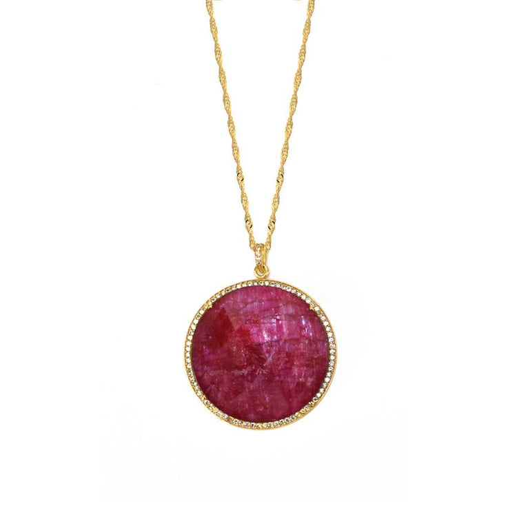 Ruby Jade Pendant Necklace