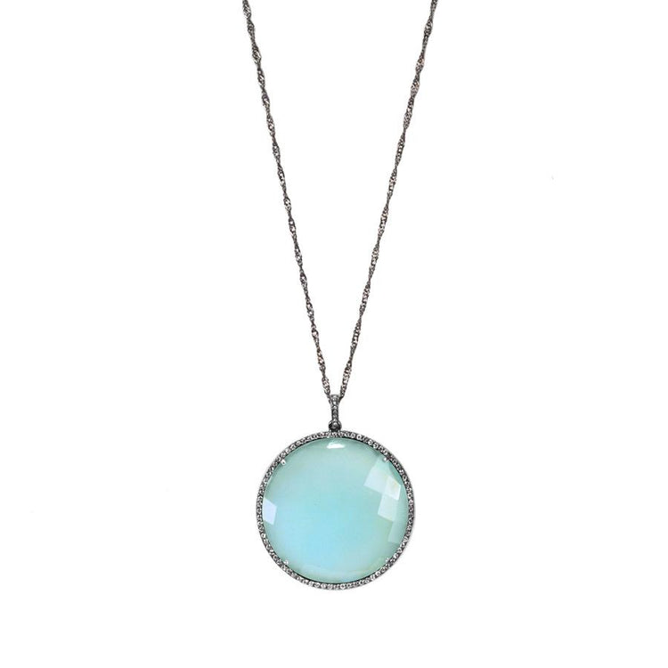 Opal Blue Pendant Necklace