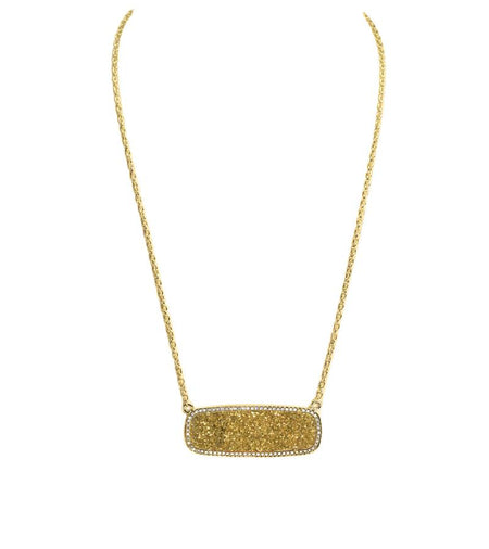 Gold Druzy Rectangle Necklace