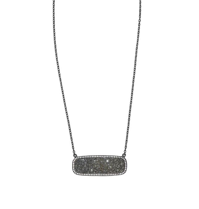Silver Druzy Rectangle Necklace