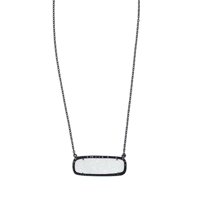 White Druzy Rectangle Necklace