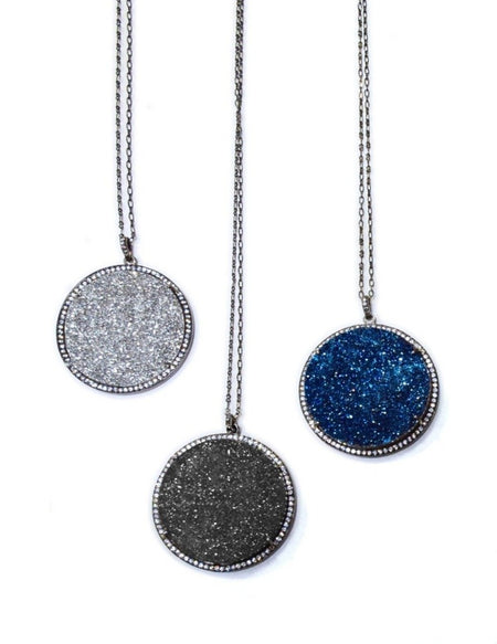 Round Pendant Druzy Necklace