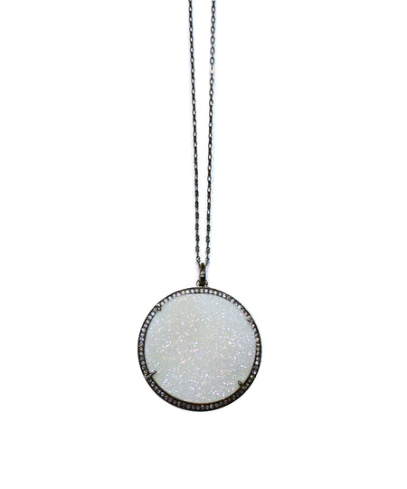 Round Druzy Pendant Necklace