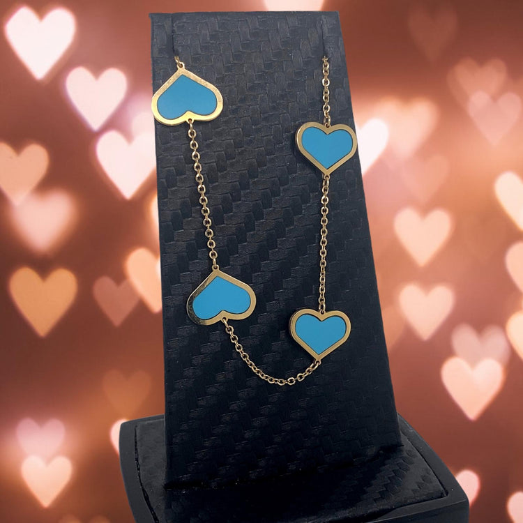 Turquoise 14 Kt Gold Hearts Necklace