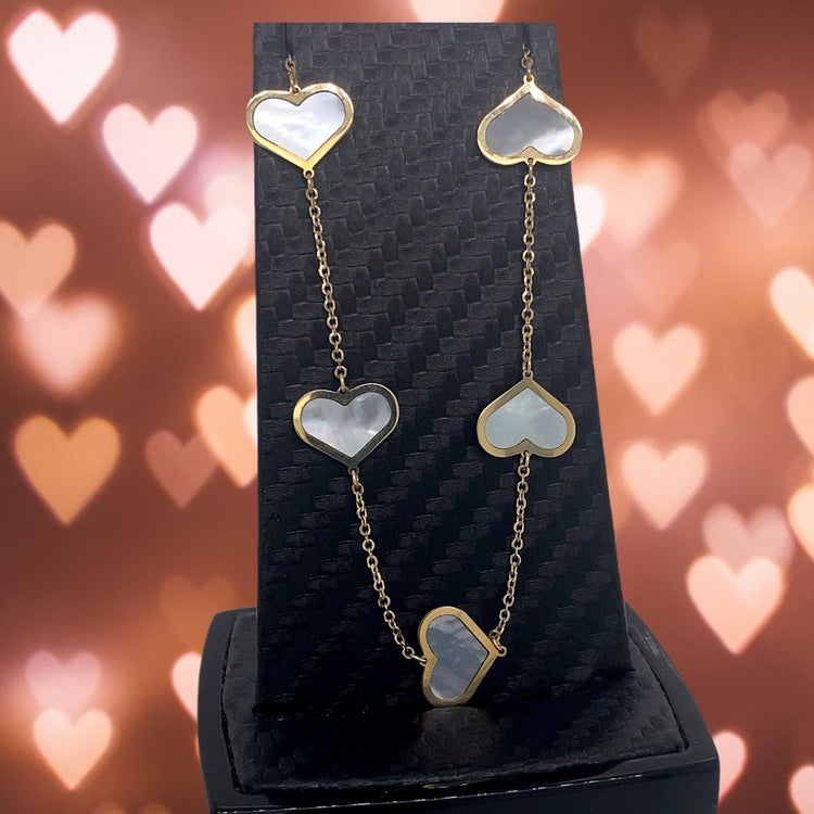Mother of Pearl 14 kt Gold Hearts Necklace