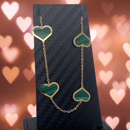 Malachite 14 kt Gold Hearts Necklace
