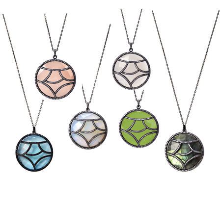 Round pendants with overlay