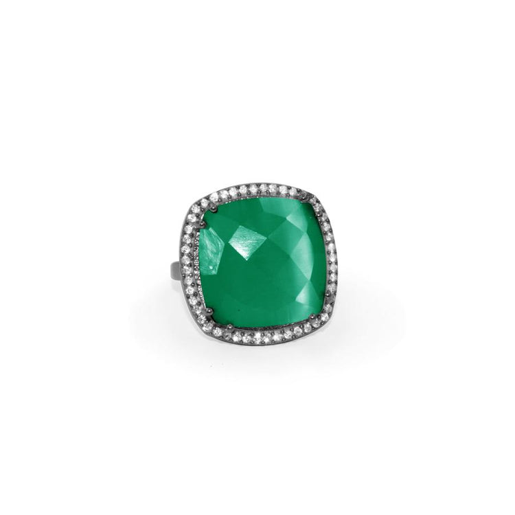 Green Onyx Square Ring