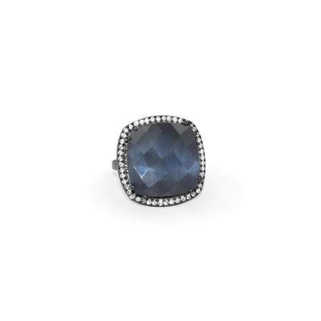 Indigo Grey Quartz Square Ring