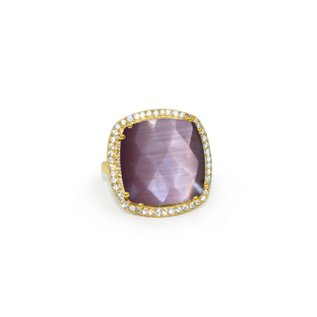 Mauve Quartz Square Ring