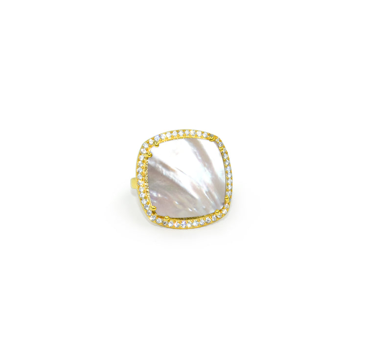 Mother of Pearl Square Ring