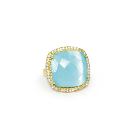 Opal Blue Square Ring
