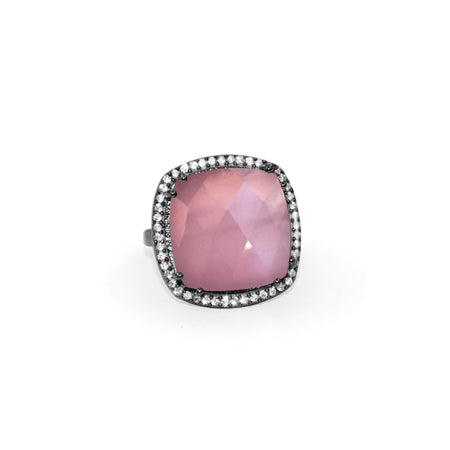 Pink Quartz Square Ring
