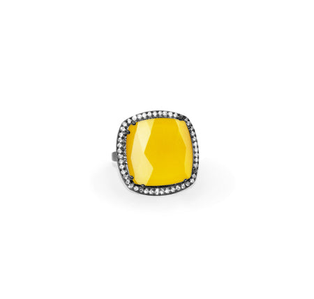 Yellow Chalcedony Square Ring