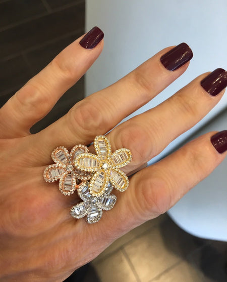 3-Flower CZ Ring