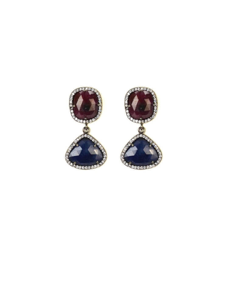Sliced Sapphire mini earrings