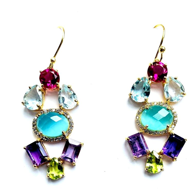 SemiPrecious Multi Stone Drop Cluster Earrings - blues