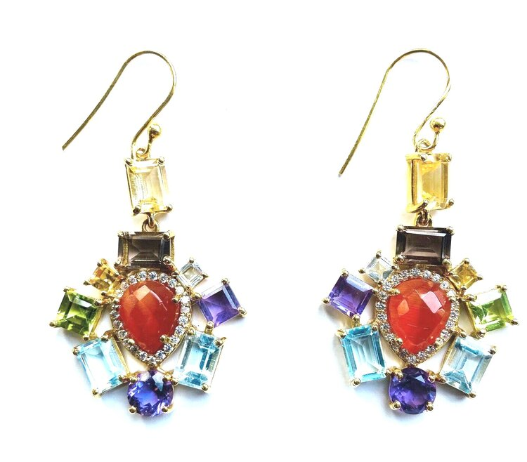 Semi Precious Multi Stone Drop Regal Earrings - Watermelon