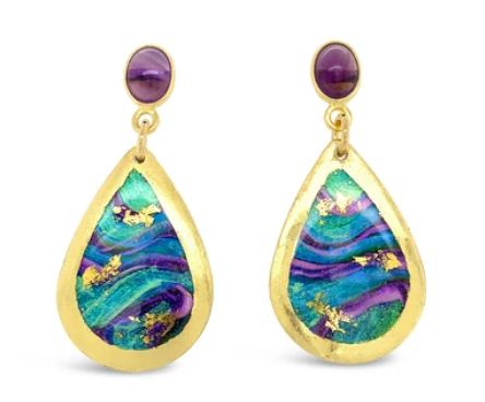 Abalone Mini Teardrop Earrings with Amethyst Post by Evocatuer