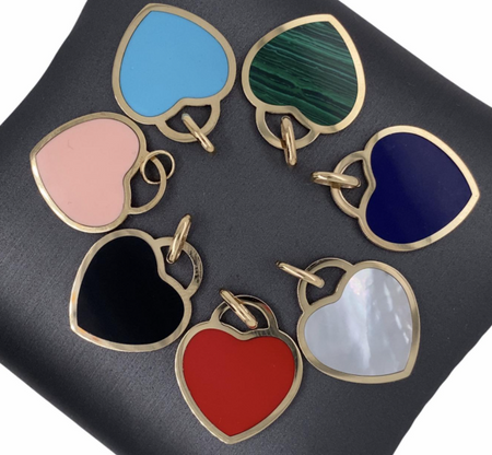 14 KT Solid Gold Stone Pendants - Heart Padlock