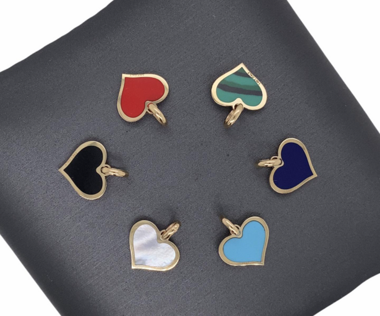 14 KT Solid Gold Mini Stone Pendants - Hearts