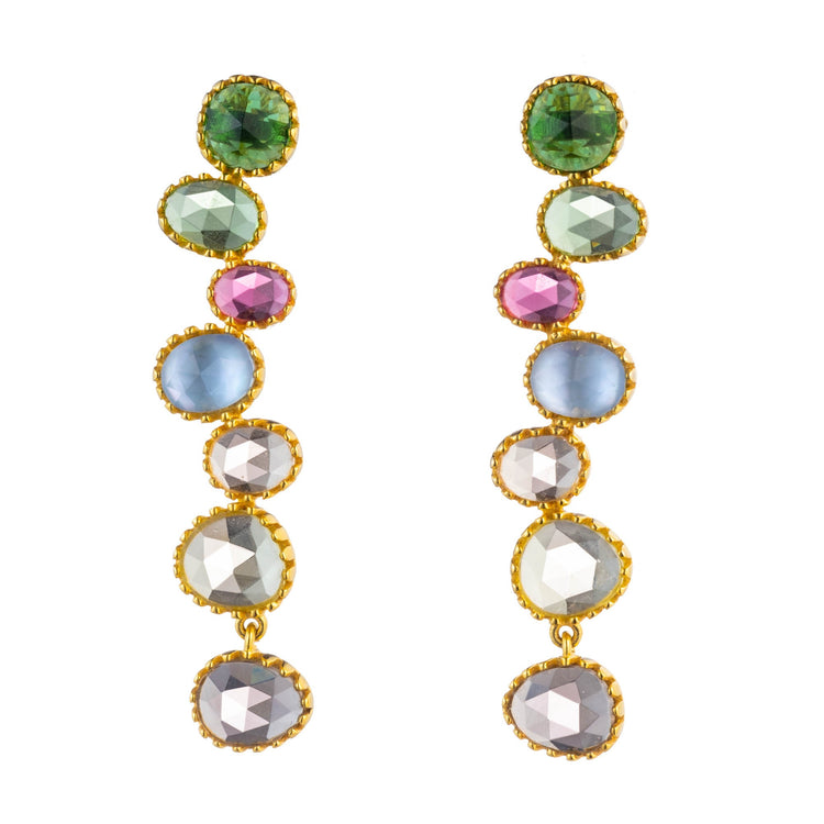Multicolor Quartz drop bezel earrings translucent