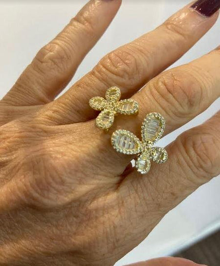 Modern two butterfly CZ Ring
