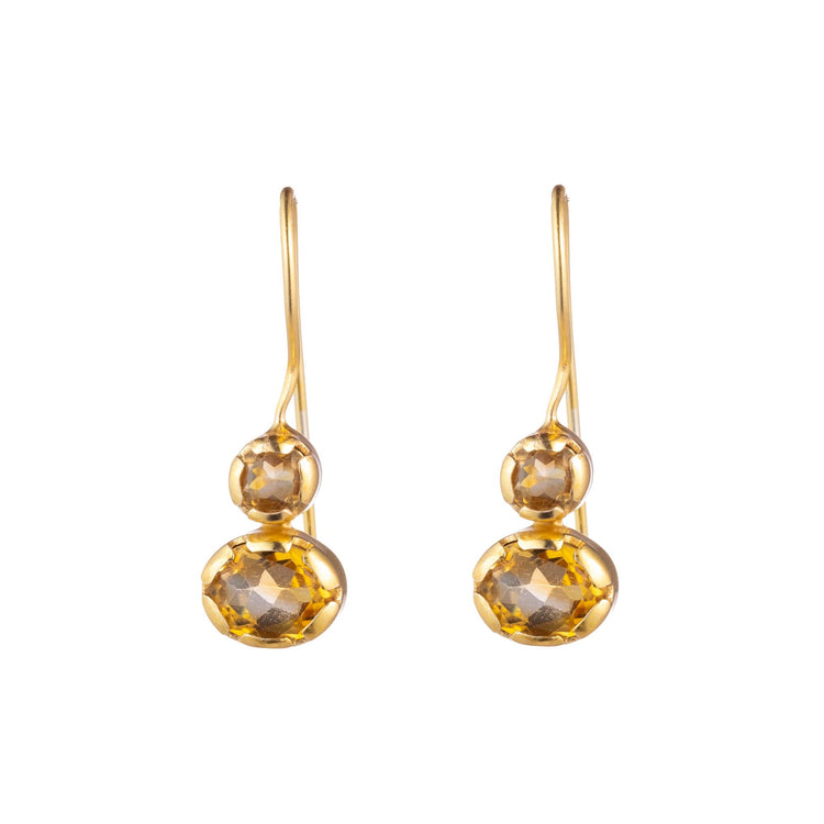 Quartz drop bezel earrings with earwire detail - citrine