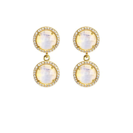 Opalite 2-Stud Drop Earrings