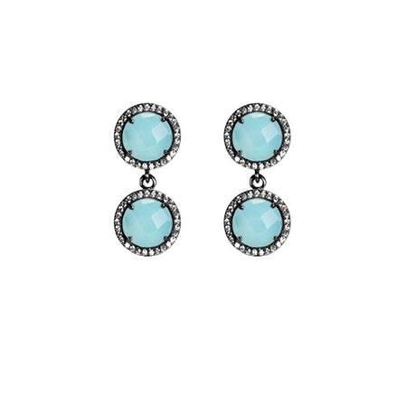 Aqua Blue 2-Stud Drop Earrings