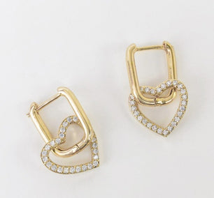 Rounded Rectangle Hoop Earrings with Cubic Zirconia Heart