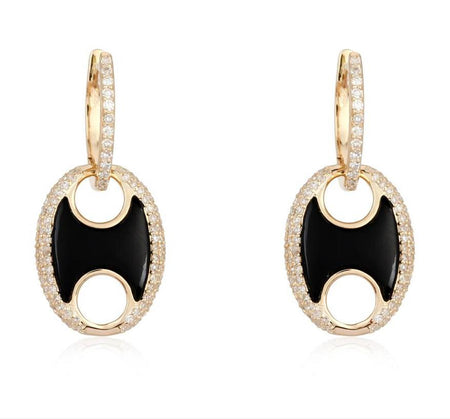 14kt Diamond Huggies with Black Onyx Mariner Puff drop