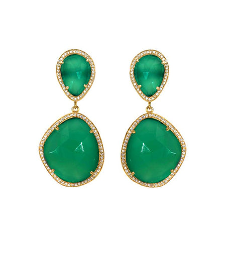 Green Onyx Drop Earrings Set in Gold Plated Sterling Silver
