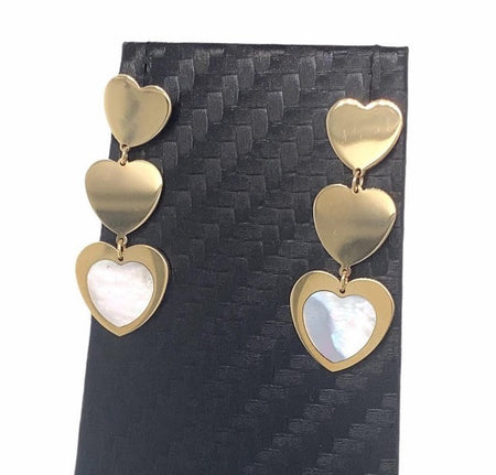 14kt Gold and Mother of Pearl Triple Heart Earrings