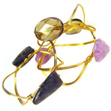 double stone new edition bracelets, shown in amethyst, smoky quartz and labradorite