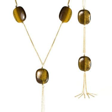 long tassel necklace - tigersEye or garnet