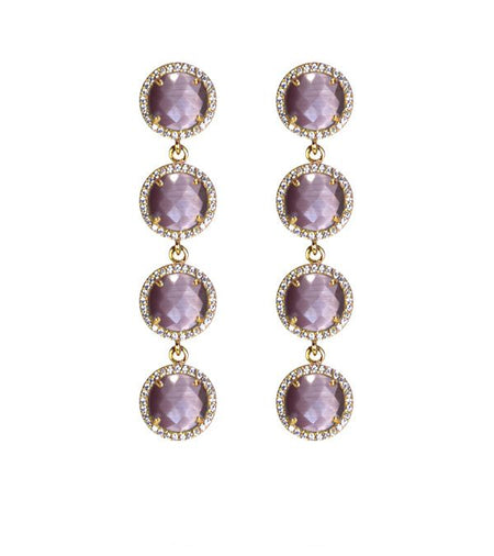 4-Stone Drop Earrings