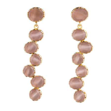 Quartz drop bezel earrings monochromatic, Earthy pink