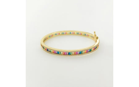 Rainbow bangle with cubic zirconia frame