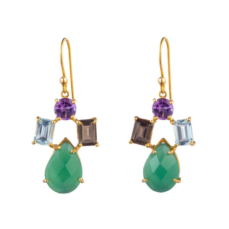 Semi Precious Drop Earrings Featuring Emerald Chalcedony  small