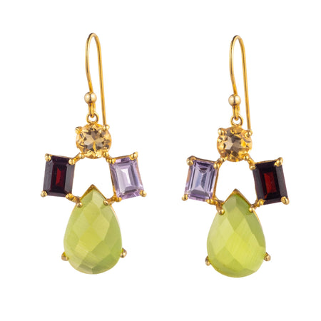 Semi Precious Drop Earrings featuring Lime Chalcedony small