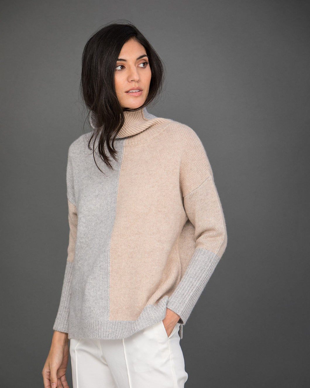 Two-Tone Roll Neck Cashmere Jumper
