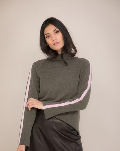 High Neck Cashmere Jumper with Striped Sleeves in Green