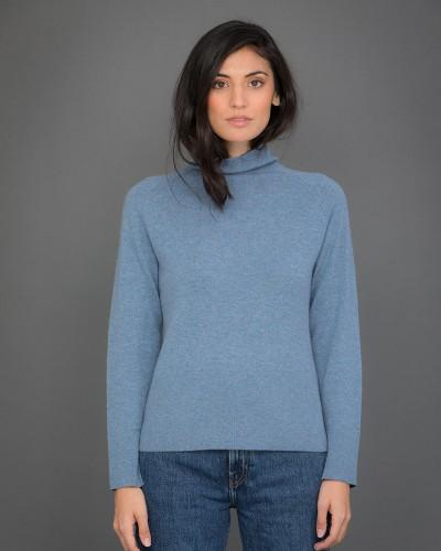 High Neck Cashmere Jumper with Striped Sleeves in Blue